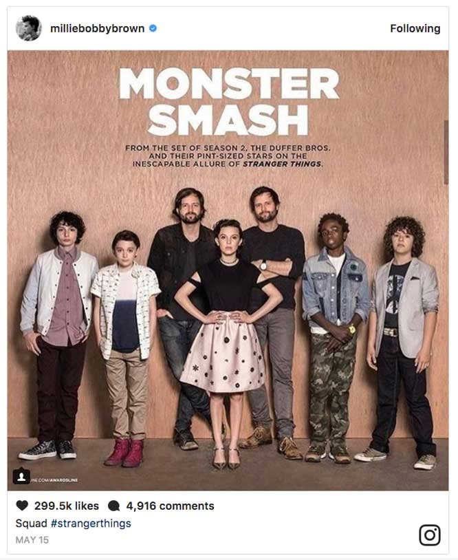 Millie Bobby Brown Instagram Monster Smash Post Stranger Things 2