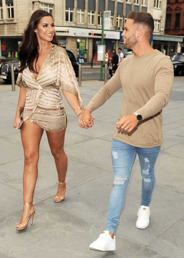Love Island Star Jess Shears Showed Off Her Long Tanned Legs And Cleavage In A 150 Missguided Peace Komono Wrap Dress With Boyfriend Dom Lever