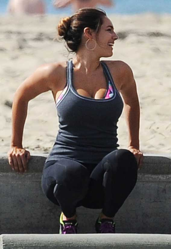 Exclusive Kelly Brooks Beach Workout In A Revealing Top  -8281
