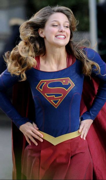 Melissa Benoist Supergirl Revealing Costume Filming Vancouver
