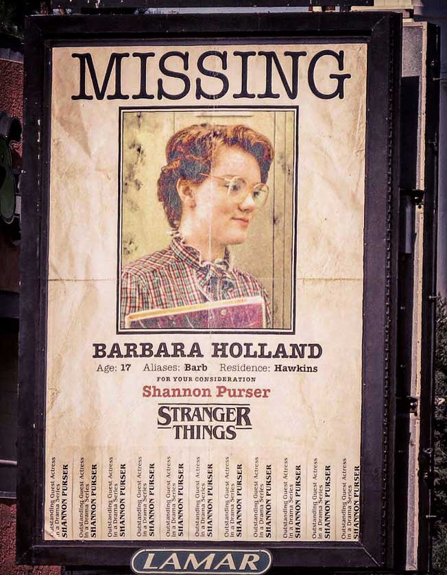Stranger Things MISSING Barbara Holland Poster Los Angeles