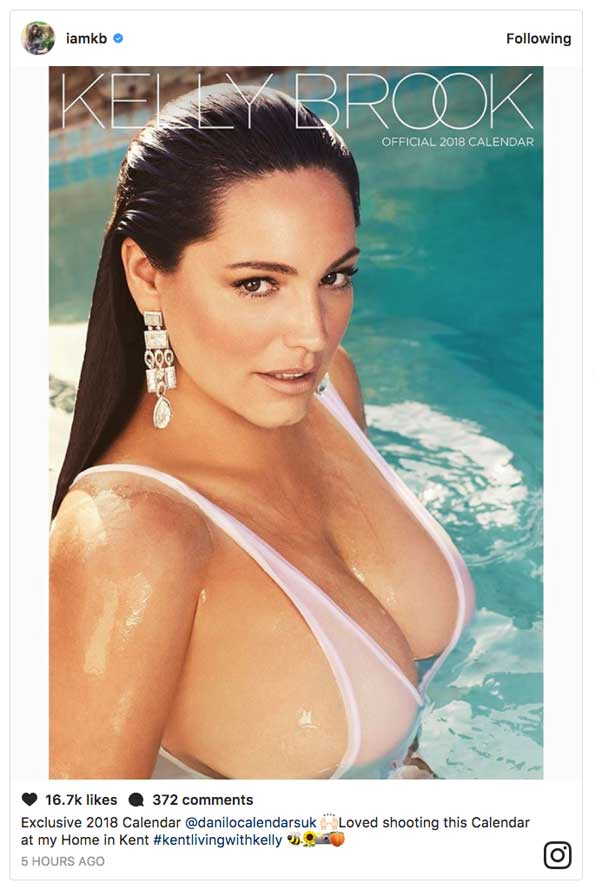 Kelly Brook Boobs Major Cleavage See Through Bikini Swimsuit 2018 Calendar f82cc9477
