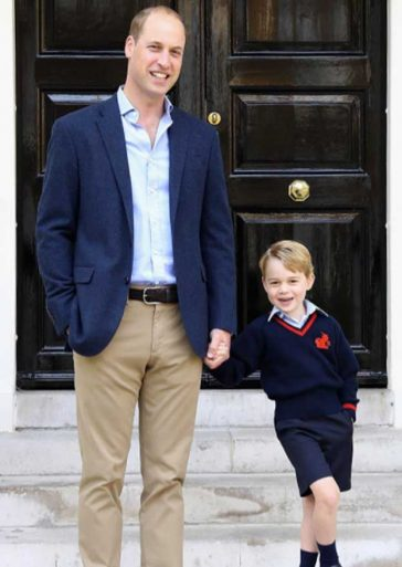 Prince George First Day of School Holding Hands Dad Prince William London Thomas's Battersea