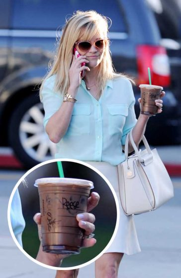Reese Witherspoon Legs Starbuck Name on Cup Shirt Fashion Sunglasses