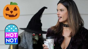 Alessandra Ambrosio is given a fright by a pop-up skull wearing a cleavage-baring bodysuit © Atlantic Images