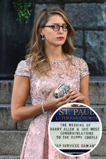 Supergirl Melissa Benoist Flash Wedding Crossover Barry Allen Iris West Pink Lace See Through Dress Season 4 Glasses Lipstick