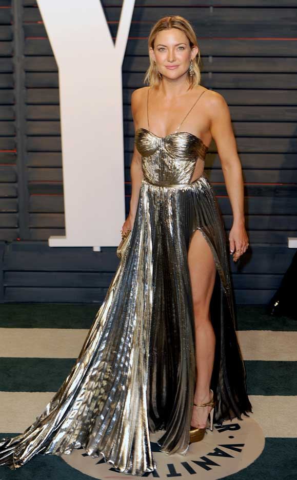 Kate Hudson Vanity Fair Party Legs Maria Lucia Hohan gown Brian Atwood shoes Oroton clutch