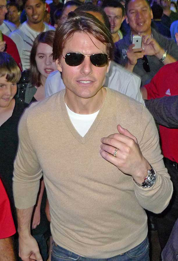 Tom Cruise Wears His (Ray Ban) Sunglasses At Night