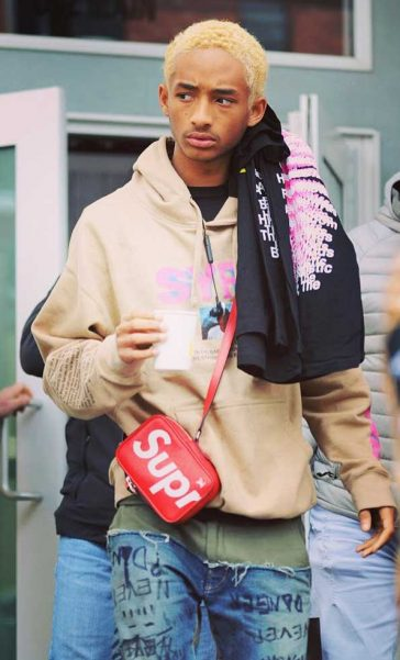 Jaden Smith SYFE jeand Hoodie water promoting 'Skate Kitchen' at the 2018 Sundance Film Festival wearing a Louis Vuitton Supreme bag