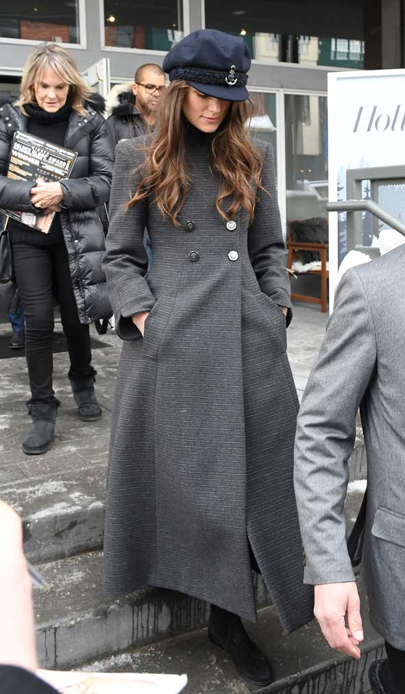 31f068a6ff2 Keira Knightly Chanel Sailor Cap Chanel long lined coat pre-fall 2018  promoting Colette at