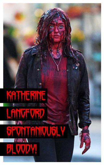Katherine Langford Filming Spontaneous Movie in Vancouver Canada covered in Blood as she Spontaneously burst into flames playing Mara Carlyle