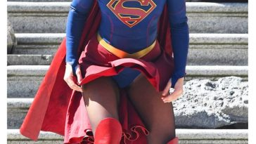 Melissa Benoist Upskirt Costume Wardrobe Malfunction on set of Supergirl Season 3 Finale in Vancouver Canada