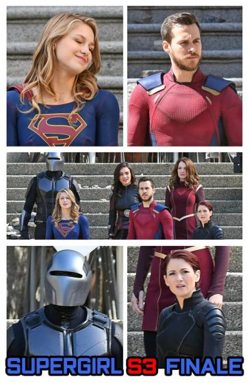 Supergirl Season 3 Finale The main characters were pictured with Supeegirl / Melissa Benoist including Mehcad Brooks as James Olsen/Guardian, Chyler Leigh as Alex Danvers, Chris Wood as Mon-El Erica Durance as Alura Zor-El and Amy Jackson as Saturn Girl © Atlantic Images
