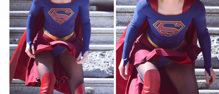 Melissa Benoist's supergirl costume fought the elements on set of Season 3 as her 'Super' skirt blew up in the wind. ALL the pics on our Gallery Page © Atlantic Images